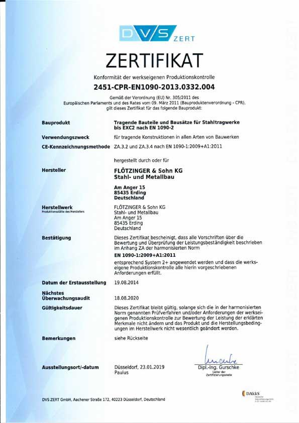 Zertifikat 2451-CPR-EN1090-2013.0332.004