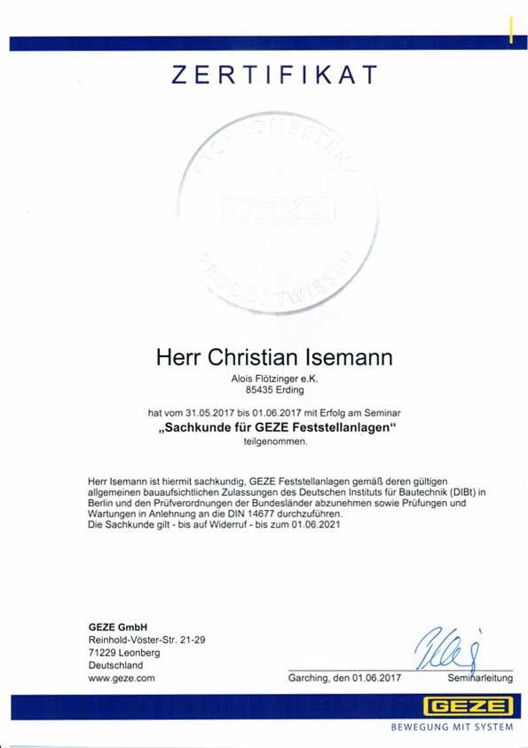Zertifikat Sachkunde für GEZE Feststellanlagen