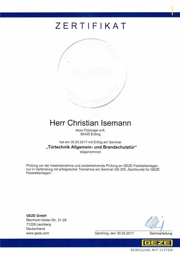 Zertifikat Türtechnik Allgemein- und Brandschutztür